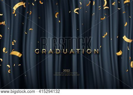 Congratulations Graduate Template With Golden Ribbons On Black Drapery Background. Vector Illustrato