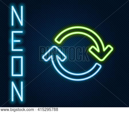 Glowing Neon Line Refresh Icon Isolated On Black Background. Reload Symbol. Rotation Arrows In A Cir