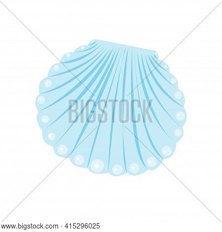 Vector Blue Sea Shell Mollusk. Cartoon Flat Illustration