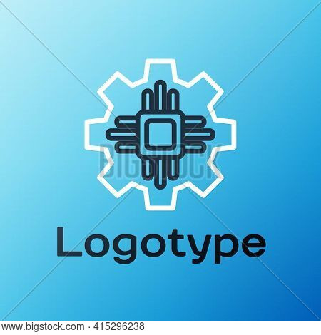 Line Processor Icon Isolated On Blue Background. Cpu, Central Processing Unit, Microchip, Microcircu