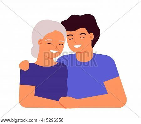 Old Senior Mother And Adult Son Are Hugging. Family Love, Taking Care Of Grandmother. Mother S Day C