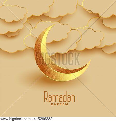 Nice Eid Moon And Clouds Ramadan Kareem Greeting