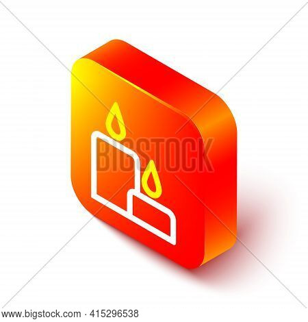 Isometric Line Burning Candle Icon Isolated On White Background. Cylindrical Candle Stick With Burni