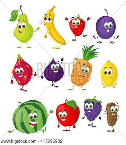 Set Of Funny Fruits With Eyes. Cartoon Funny Fruits Characters Flat Vector Illustration