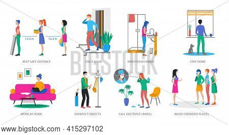 Set Of Coronavirus Prevention Concepts, Modern Flat Design Vector Illustration, For Graphic And Web