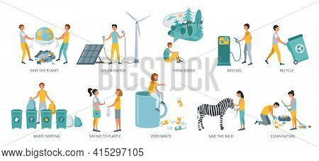 Set Of Ecology Concepts, Flat Design Vector Illustration Close-up