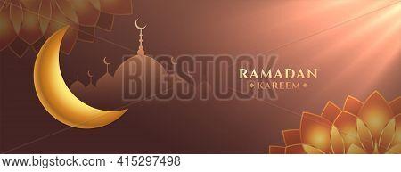 Eid Ramadan Kareem Festival Banner With Heavenly Rays