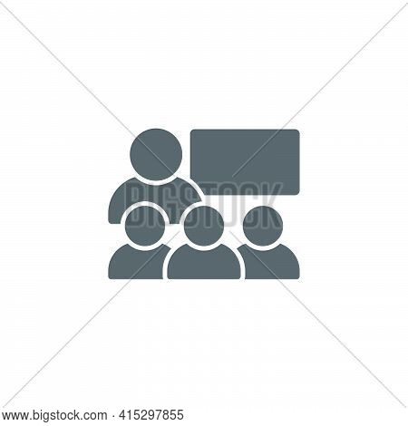 Business Presentation Icon. Contains Such Presenter. Teacher, Audience And More. Training, Presentat