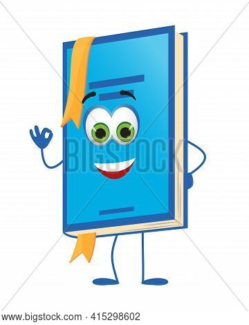 Funny School Book With Eyes On White Background, Flat Design Vector Illustration