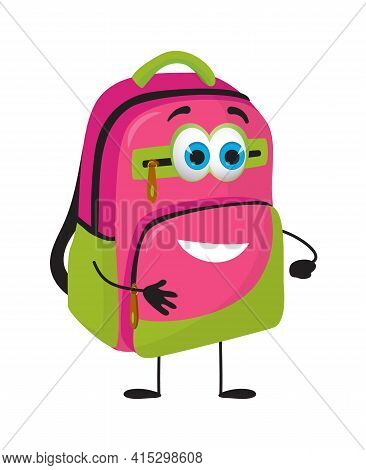 Funny School Bag With Eyes On White Background, Flat Design Vector Illustration