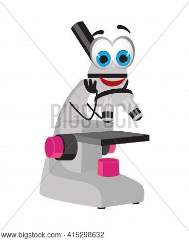 Funny Microscope With Eyes On White Background, Flat Design Vector Illustration
