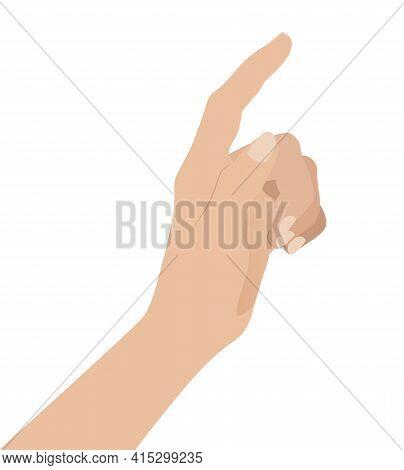 Woman Hand On White Background, Flat Design Vector Illustration