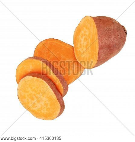 Sweet Potatoes On White Background Cooked, To, Food, Nutritious, Isolated, Shot, Tuber