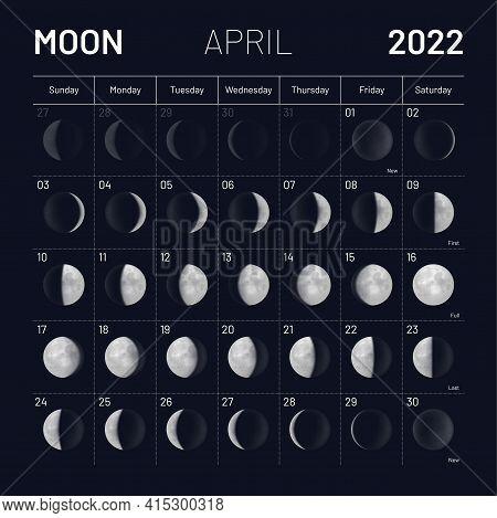 April Moon Phases Calendar On Dark Night Sky