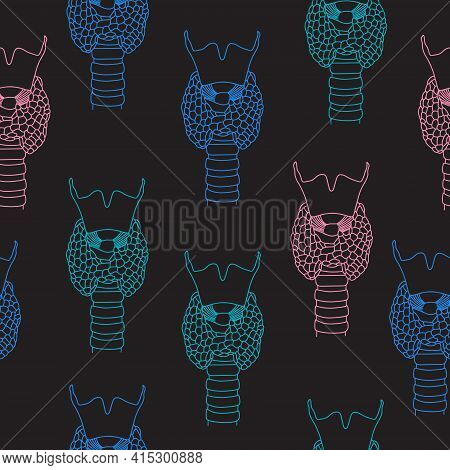 Seamless Pattern Of  World Thyroid Day In May 25. Human Thyroid Structure. Icon In The Linear Style.