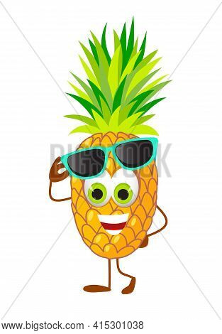 Funny Pineapple With Eye Glasses - Summer Things Collection. Cartoon Funny Characters, Flat Vector I