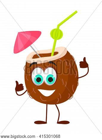 Funny Coconut Cocktail With Eyes - Summer Things Collection. Cartoon Funny Characters, Flat Vector I