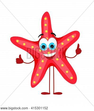 Funny Starfish With Eyes - Summer Things Collection. Cartoon Funny Characters, Flat Vector Illustrat