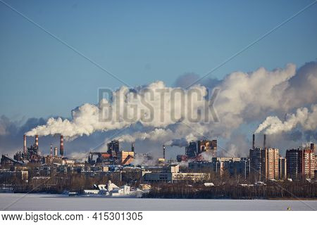 Environmental Disaster. Poor Environment In City. Harmful Emissions Into Environment. Smoke And Smog