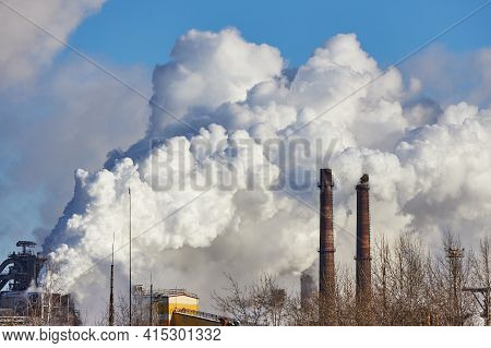 Smoke And Smog. Harmful Emissions Into Environment. Pollution Of Atmosphere By Factory. Exhaust Gase