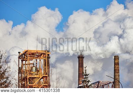 Pollution Of Atmosphere By Factory. Exhaust Gases. Environmental Disaster. Poor Environment In City.