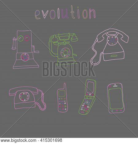 Set Of 7 Vintage And Modern Phones, Telephone Evolution