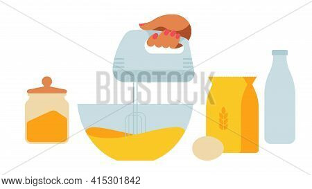 Baking Dough - The Hand Whips The Mass With Mixer.kitchenware - Cups, Bowls, Rolling Pin, Scales, Ja