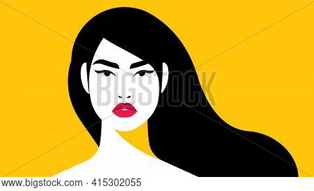 Beautiful Woman' Face. Female Portrait - Head, Shoulders, Long Hair, Yellow Background. Concept Of F