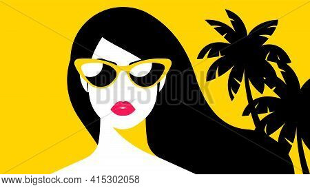 Beautiful Woman' Face. Female Portrait - Head, Shoulders, Long Hair, Yellow Background With. Concept