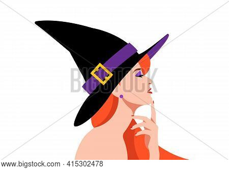 The Witch. Beautiful Woman With Red Hair And Black Hat. Portrait Of Beautiful, Sensual Woman In Witc