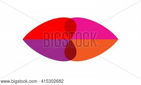 Abstract Lips. Lip Shape Consisting Of Different Shapes. Abstract Image Of Bright Lips: Orange, Pink