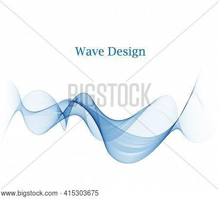 Abstract Vector Background, Blue Transparent Waved Lines For Brochure, Website, Flyer Design. Smoke