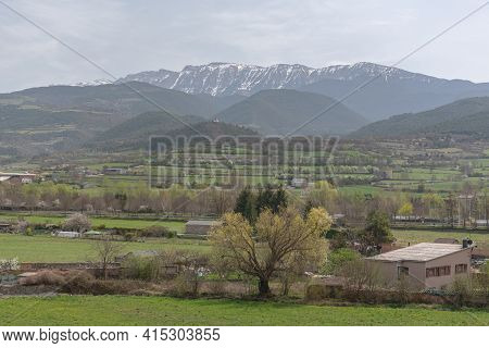 Landscape From La Seu De Urgell To The Cadi Mountain In The Calalan Pyrenees.