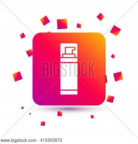 White Shaving Gel Foam Icon Isolated On White Background. Shaving Cream. Square Color Button. Vector