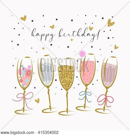 Birthday Greeting Card. Five Glasses Of Champagne With Confetti
