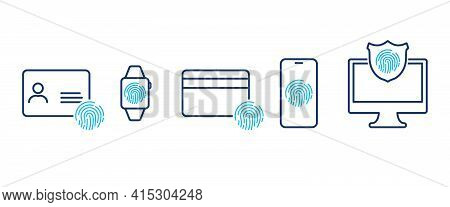 Security Personal Data And Devices. Fingerprint, Id And Credit Card, Smart Watch, Smartphone, Comput