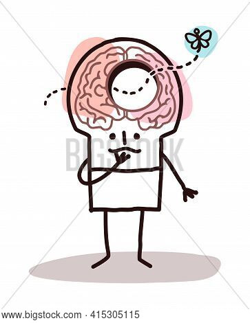 Hand Drawn Cartoon Man With A Hole In Brain And Memory Disorders