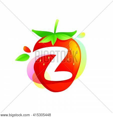 Letter Z Logo On A Tasty Ripe Strawberry With Green Leaves And Juice Splashes. Vector Negative Space