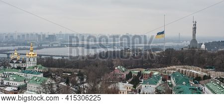 Panorama View Of Kiev, The Capital Of Ukraine. Dnieper River