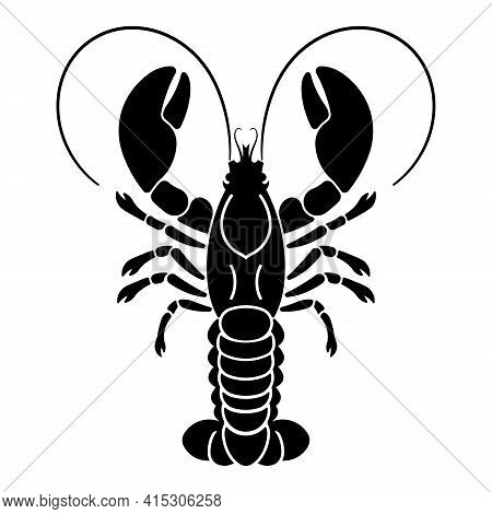 Lobster Abstract With Large Claws. Poster Illustration Of Large Lobster With Claws And Antennae. Sty