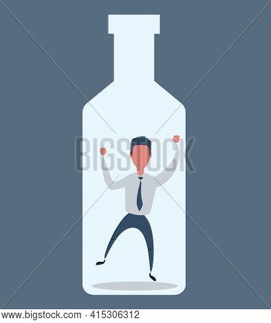 Alcoholism. Conceptual Illustration For Alcoholism. Vector Flat Design Illustration.