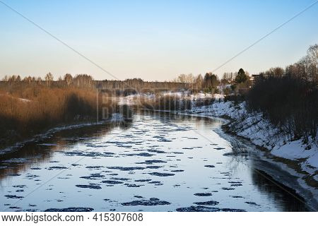 Ice Drift On The Big River Spring