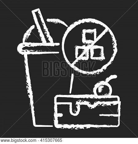 No Added Sugar Chalk White Icon On Black Background. Healthy Food. Weight Loss. Stop Overeating. Unh