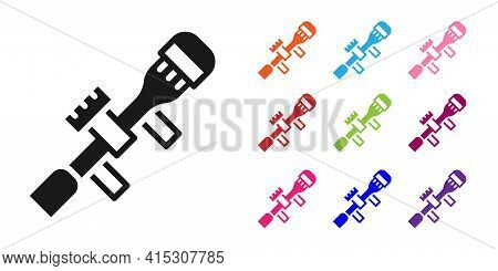 Black Sniper Optical Sight Icon Isolated On White Background. Sniper Scope Crosshairs. Set Icons Col