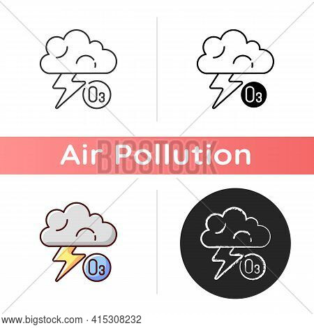 Lightning Icon. Lightning Significantly Increases Regional Ozone And Other Gases That Affect Air Che