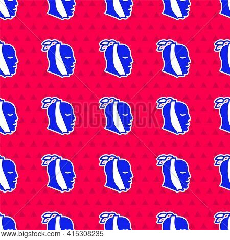 Blue Toothache Icon Isolated Seamless Pattern On Red Background. Vector
