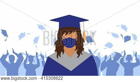 Graduate In Medical Face Mask And Mantle And Mortarboard On Background Of Crowd Of Graduates Throwin