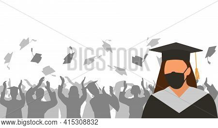 Graduate Girl In Medical Protective Mask And Black Graduation Clothing On Background Of Cheerful Gro