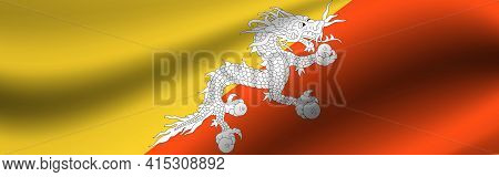 Banner With The Flag Of Butane. Fabric Texture Of The Flag Of Butane.