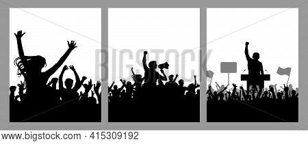 Meeting Of Crowd People, Black Silhouette. Speaker And Protest And Demonstration, Set Of Vertical Po